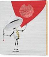 Robot Romantic Wood Print