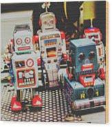 Robots Of Retro Cool Wood Print