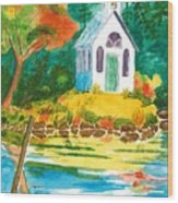 Roche Harbor Chapel Wood Print