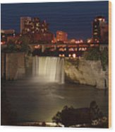 Rochester Falls At Dusk Wood Print