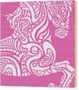 Rocinante Horse - White On Pink Wood Print
