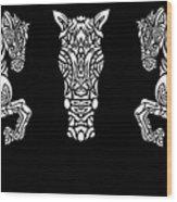 Rocinante Horses - Black And White Wood Print