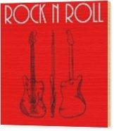 Rock And Roll Poster Wood Print