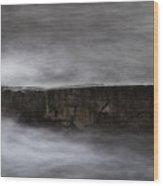 Rock And The Sea Wood Print