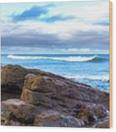 Rock And Wave Wood Print