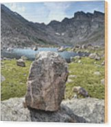Rock At Abyss Lake Wood Print
