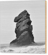 Rock At Morro Bay Wood Print