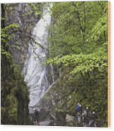 Rock Climbers At Graymare's Tail Falls Wood Print