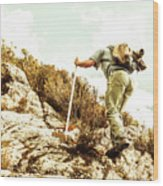 Rock Climbing Mountaineer Wood Print