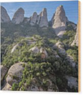 Rock Formations Montserrat Spain Wood Print