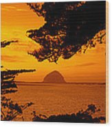 Rock In A Lake At Dusk, Morro Rock Wood Print