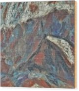 Rock Landscape Abstract  Fall Waves And Forests Swirling In The Background In Red Blue Orang Wood Print
