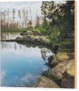 Rock Lined Pond Wood Print