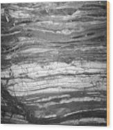 Rock Lines B W Wood Print