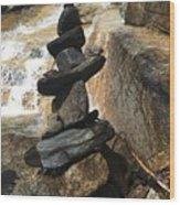 Rock Monument At Jones Gap Falls II Wood Print
