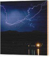 Rock Mountains Foot Hills Lightning Storm Wood Print