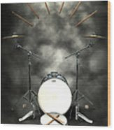 Rock N Roll Crest-the Drummer Wood Print by Frederico Borges