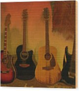 Rock N Roll Guitars Wood Print
