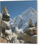 Rock Piles In The Himalayas Wood Print