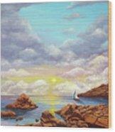 Rock Pools, Seascape Wood Print