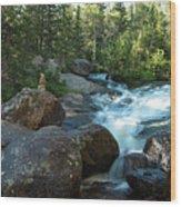 Rock Stack Falls Wood Print