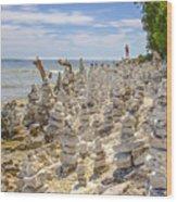 Rock Structures On Lake Michigan Wood Print