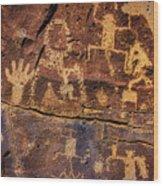 Rock Wall Of Petroglyphs Wood Print