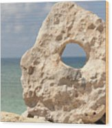 Rock With A Hole With A Tropical Ocean In The Background. Wood Print