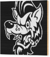 Rockabilly Wolf Head Wood Print