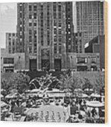 Rockefeller Center Plaza Wood Print