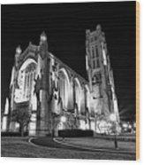 Rockefeller Chapel - B And W Wood Print