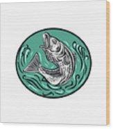 Rockfish Jumping Color Oval Drawing Wood Print