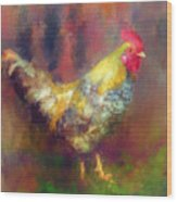 Rockin' Rooster Wood Print