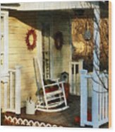 Rocking Chair On Side Porch Wood Print