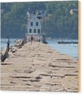Rockland Breakwater Light Wood Print