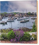 Rockport In Bloom Wood Print
