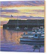 Rockport Ma Sunset Wood Print