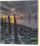 Rocks And Bridge Wood Print