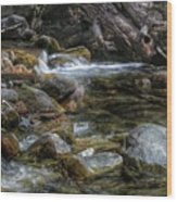 Rocks And Little Water Wood Print