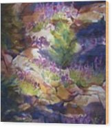 Rocks And Lupine    Sold Wood Print