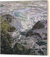 Rocks And Sea Foam Wood Print
