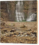 Rocks And Waterfalls Wood Print by Iris Greenwell