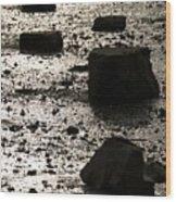 Rocks At Low Tide Wood Print