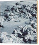 Rocks At Shoreline Wood Print