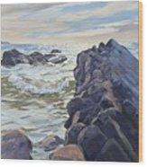 Rocks At Widemouth Bay, Cornwall Wood Print