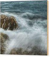 Rocks Awash Wood Print