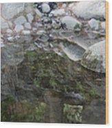 Rocks In Reflection Wood Print