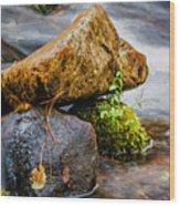 Rocks In The Creek Wood Print
