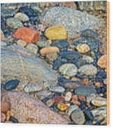 Rocks Of Many Colors On Lake Superior Shoreline In Pictured Rocks National  Wood Print