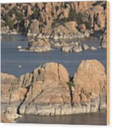 Rocks Of Watson Lake  Wood Print
